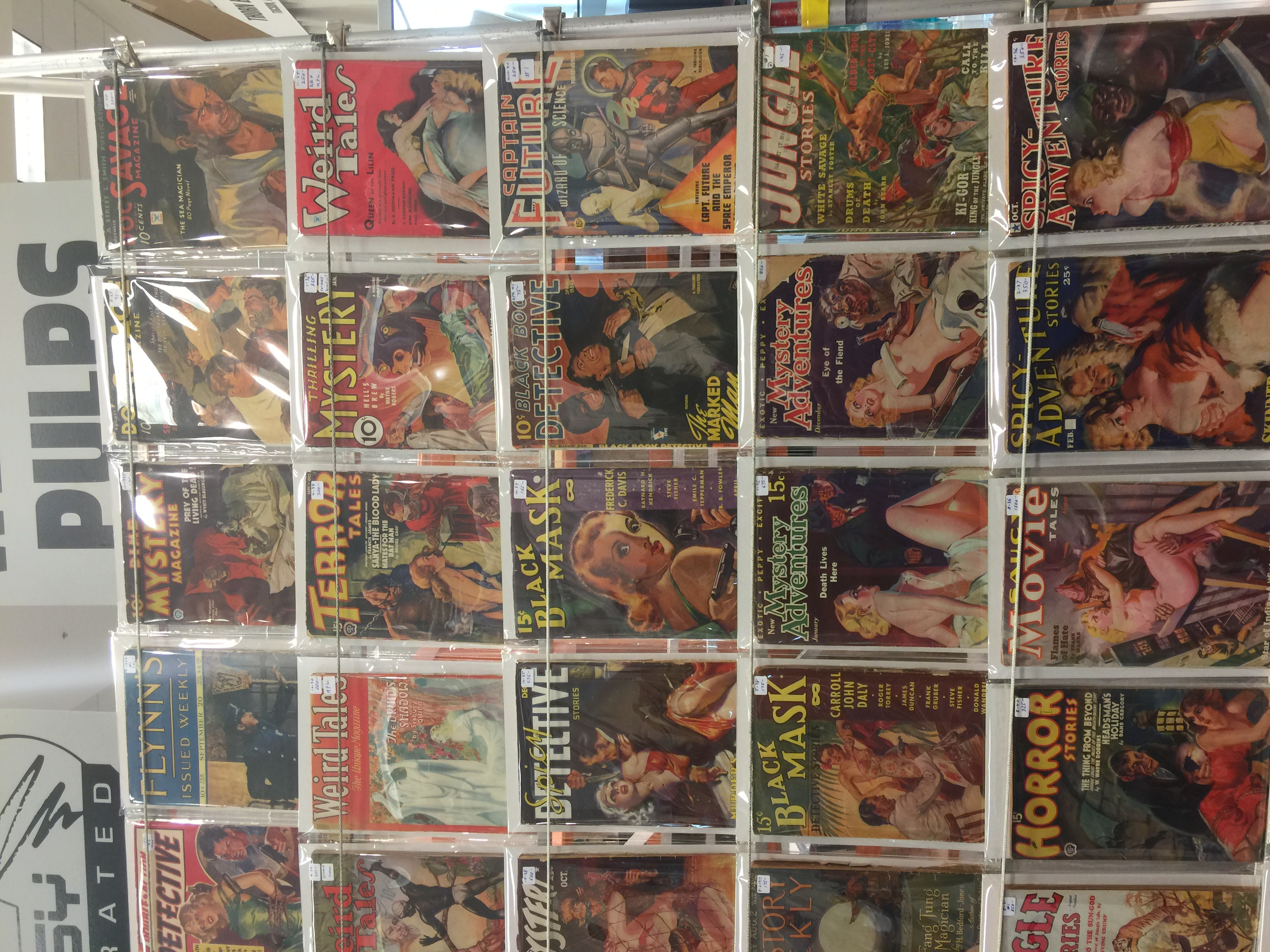 Dave Smith (Fantasy Illustrated) wall of high grade pulps closeup